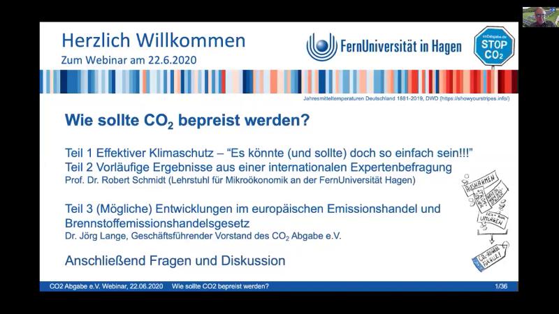 """Online-Seminar """"Wie sollte CO2 bepreist werden?"""" vom 22.6.2020"""